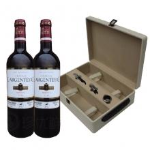 中粮进口红酒(法国白银庄园干红2010葡萄酒木箱 750ml*2)