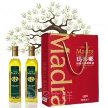 玛蒂娜特级初榨橄榄油(简约经典方瓶)1000ml*2礼盒装